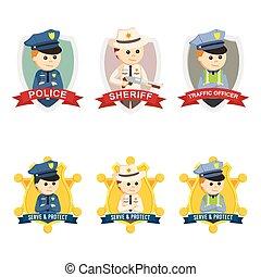 logo, ensemble, emblème, officier