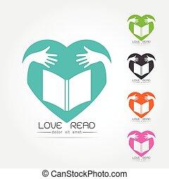 logo, ensemble, livre, bibliothèque