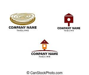 logo, ensemble, maison oiseau