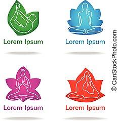 logo, ensemble, vecteur, yoga