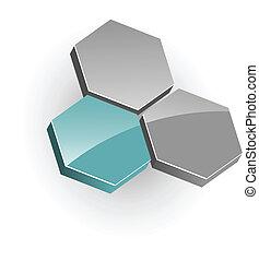 logo - 3d vector logo, hexagons, green and grey