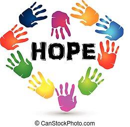 logo, espoir, mains