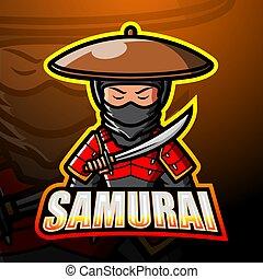 logo, esport, conception, mascotte, samouraï
