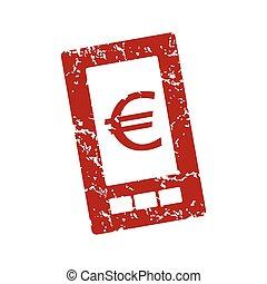 logo, euro, grunge, téléphone rouge