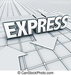 logo express - 3D elements, logo express and arrows