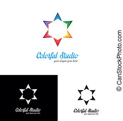 logo, färgrik, mall, studio