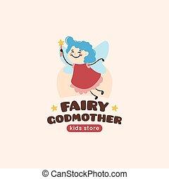 logo, fée, vecteur, godmother, dessin animé