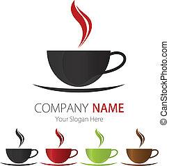 logo, företag, design, kaffe kopp