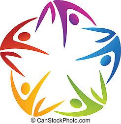logo, fünf, gruppe, gefärbt, leute