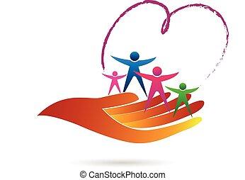 logo, famille, symbole, soin