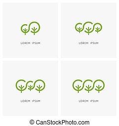 logo, famille, vert, ensemble