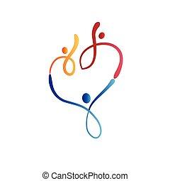Logo family happy people in a heart shape