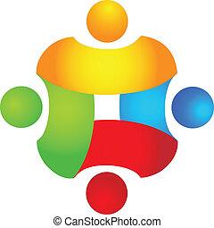logo, farver, begreb, teamwork, 4