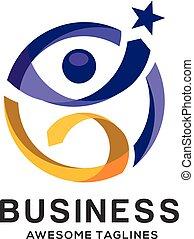 logo, farverig, skabelon, duelighed