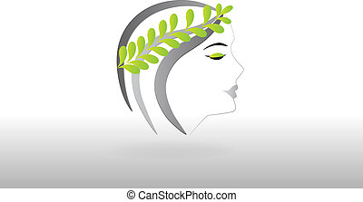 logo, femme, joli, figure