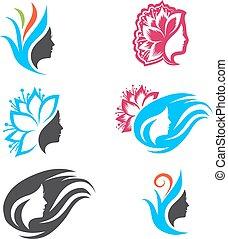 logo, femme, mettez stylique, beauté