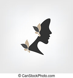 logo, femme, -, profil
