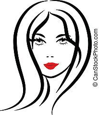 logo, femme, silhouette, joli