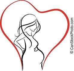 logo, femme, silhouette, pregnant