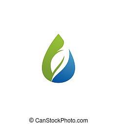 logo, feuille, goutte, vecteur, eau