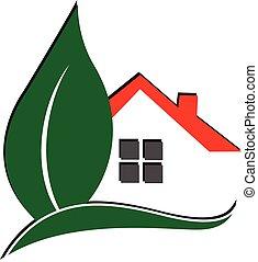 logo, feuille, maison