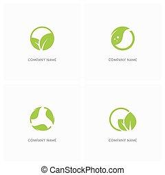logo, feuilles, écologie, vert