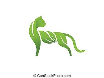 logo, feuilles, vecteur, chat, vert