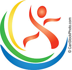 logo, figuur, fitness