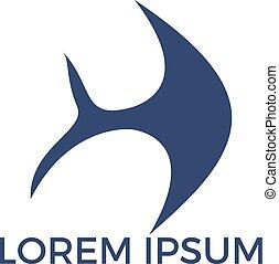 logo, fish, design.