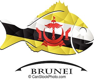logo, fish, fait, brunei., drapeau