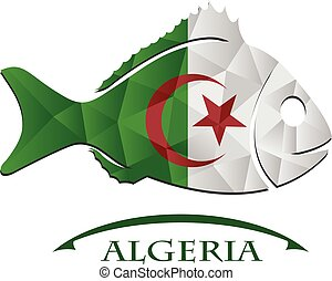 logo, fish, fait, drapeau, algeria.