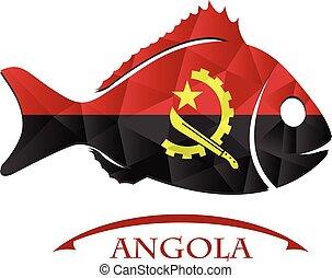 logo, fish, fait, drapeau, angola.