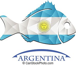 logo, fish, fait, drapeau, argentina.