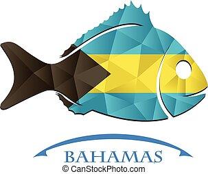 logo, fish, fait, drapeau, bahamas.