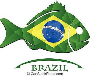 logo, fish, fait, drapeau, brazil.