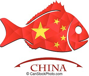 logo, fish, fait, drapeau chine