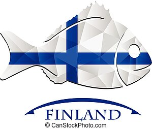 logo, fish, fait, drapeau, finlande