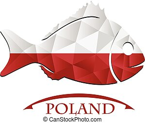 logo, fish, fait, drapeau, poland.
