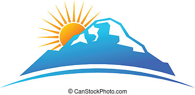 logo, fjäll, horisont, sol