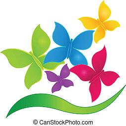 logo, fjärilar, färger, vibrerande