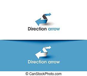 logo, flèche direction