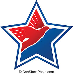 logo, flag-eagle, américain