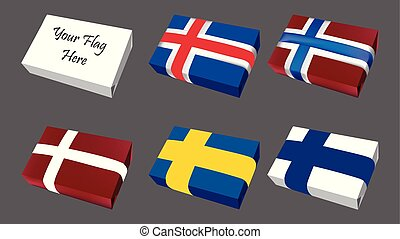 Logo Flag of Scandinavian group countries icon set