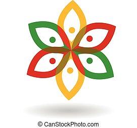 logo, fleur, gens
