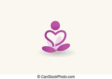 logo, fleur, toile, vecteur, icône, homme yoga, image