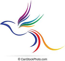 logo flying bird - vector illustration of logo flying bird