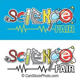 logo, foire, science
