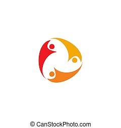 logo, folk, arbejde, abstrakt, hold