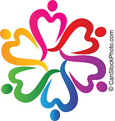 logo, folk, omkring, hjerter