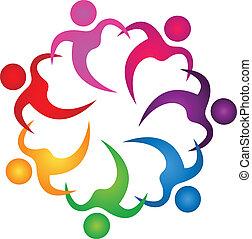 logo, folk, teamwork, hånd ind hånd